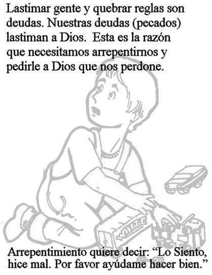 Prière du Seigneur à colorier pour les enfants en espanol